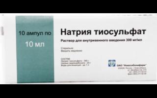 Тиосульфат натрия от артрита сколько применять